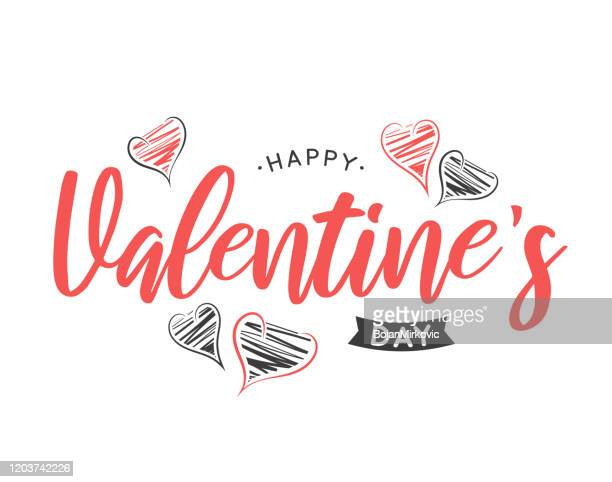 valentines day lettering card with hand drawn hearts. vector - february stock illustrations