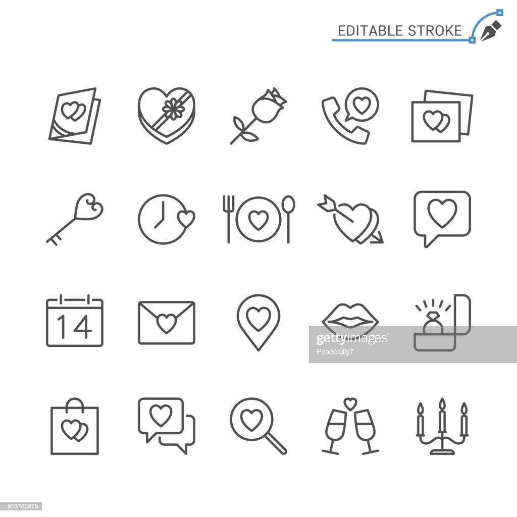Valentine's day line icons. Editable stroke. Pixel perfect.