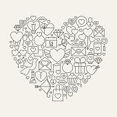 Valentine's Day Line Icons Set Heart Shape