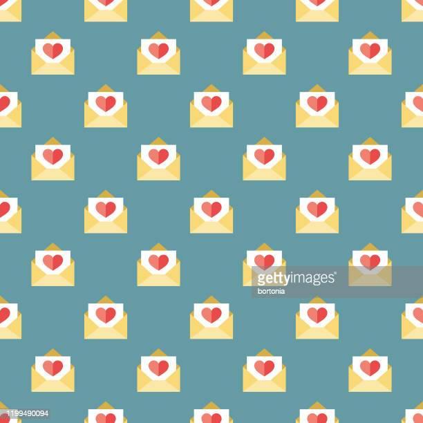 valentine's day love letter pattern - love letter stock illustrations