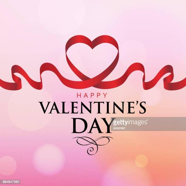 valentine's day love ribbon - i love you stock illustrations