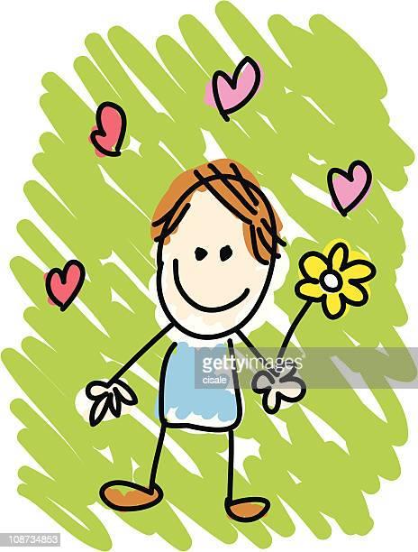 Día de San Valentín hombre apasionado del dibujo