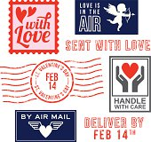 Valentine's Day mail and stamps