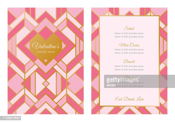 valentine's day menu. art deco style - menu background stock illustrations