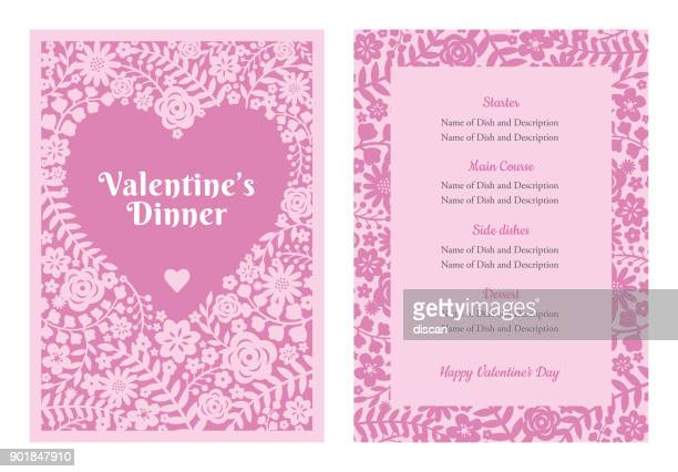 valentine's day menu - menu background stock illustrations