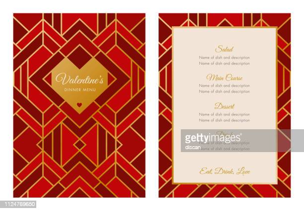 valentine's day menu with geometric heart. art deco style. - menu background stock illustrations