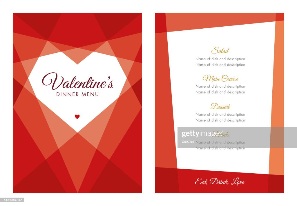 Valentine's Day Menu with Geometric Heart : stock illustration
