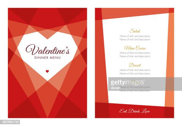 valentine's day menu with geometric heart - valentine's day holiday stock illustrations