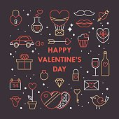 Valentine's day modern card design with thin line icons.