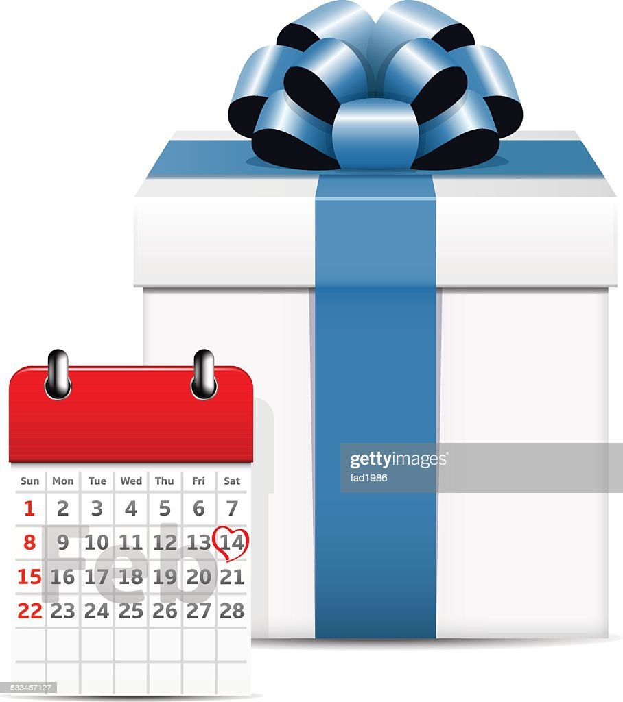 Valentines day on calendar with gift box
