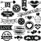 Valentine's Day Ornaments and Badges in Vector Format