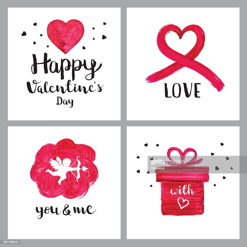 Valentines Day Painted Symbols Vector Art Getty Images