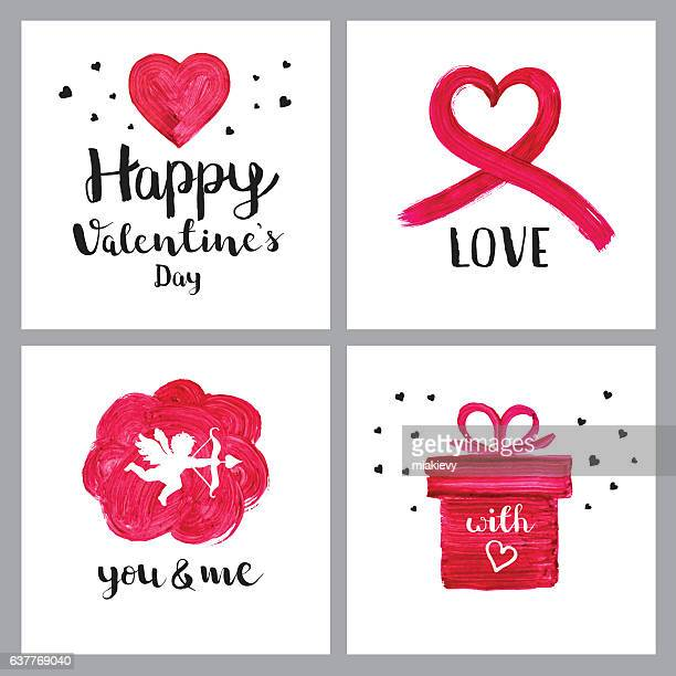 Valentines day painted symbols