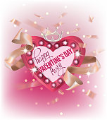 Valentines Day party banner with heart shaped light box and ribbons. Vector illustration