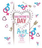 Valentine's Day  party invitation card with heart shaped light frame, arrows and symbols of men and woman. Vector illustration