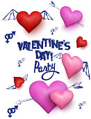 Valentine's Day  party invitation card with  hearts and doodles. Vector illustration