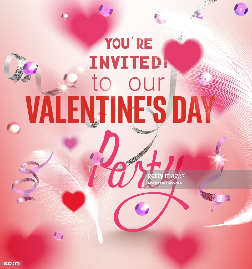Valentines Day Party Invitation Card With Sequins Flying White ...