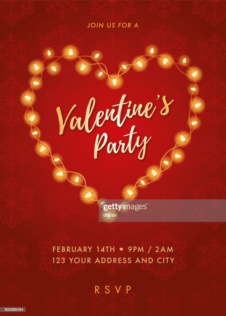 Valentines Day Party Invitation With Lights Heart Vector Art Getty