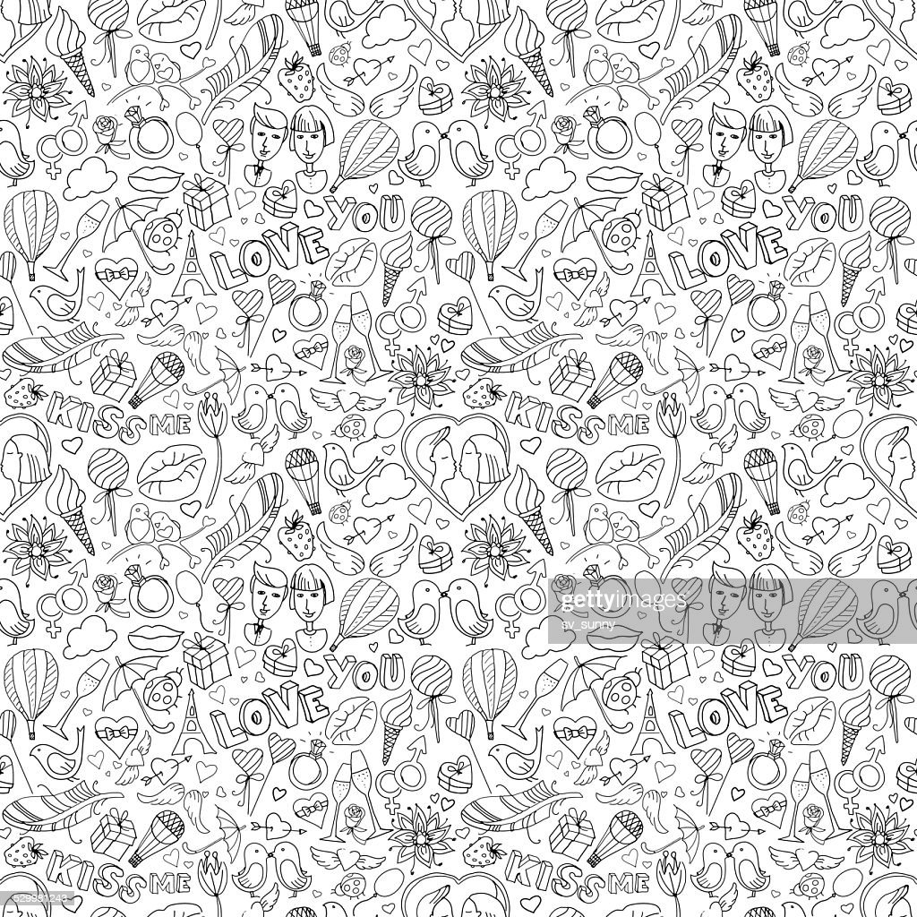 Valentine's Day pattern. Sketch style. Black & white