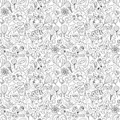 Valentine's Day pattern. Sketch style. Black & white