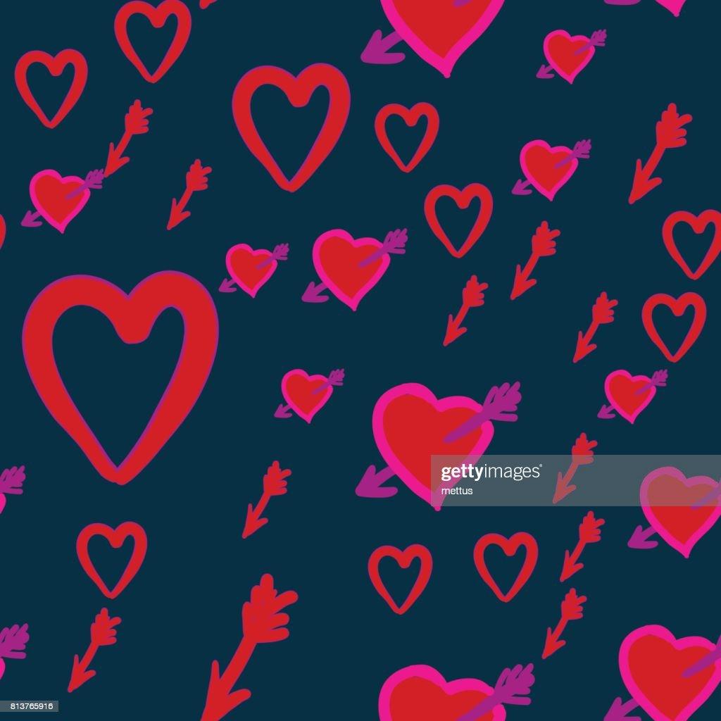 Valentinstagmuster Mit Amors Pfeilen Im Herzen Vektor Illustration