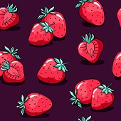 Valentine's day pattern with cute doodle strawberry.