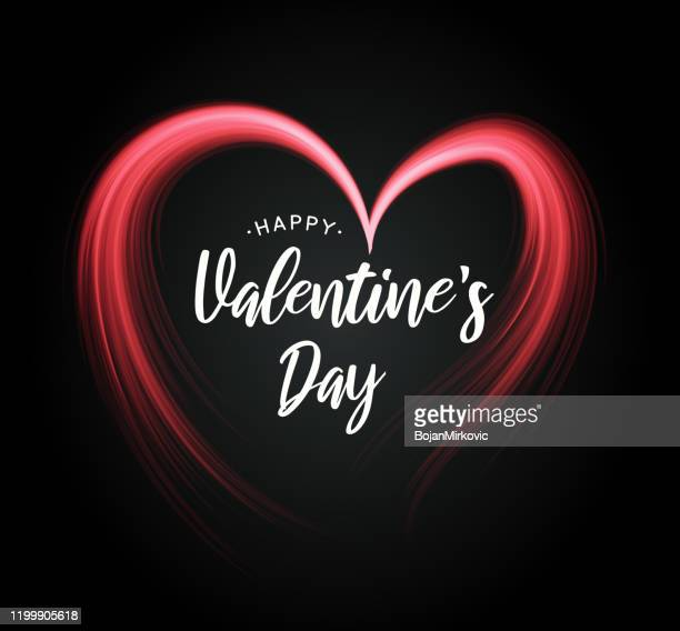 valentine's day poster with heart on black background. vector - valentine card stock illustrations