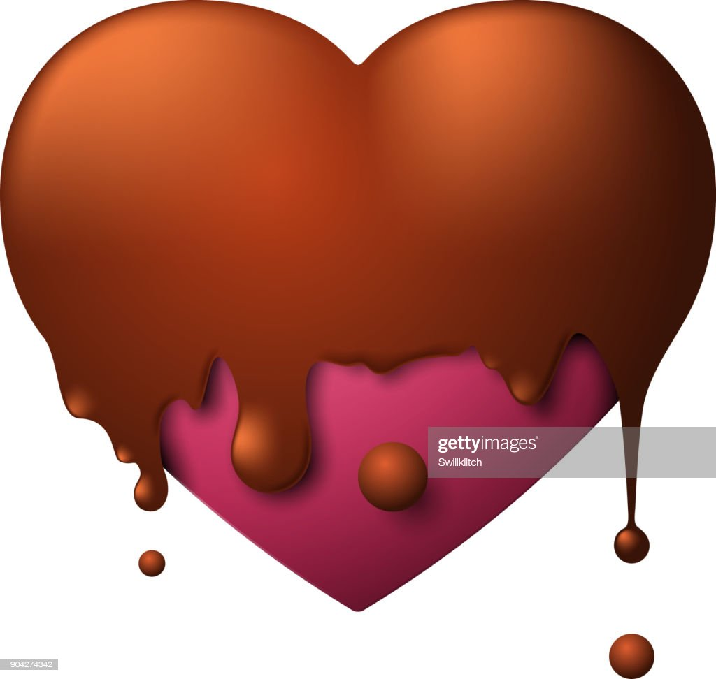 Valentines Day purple heart poured with hot chocolate isolated on white