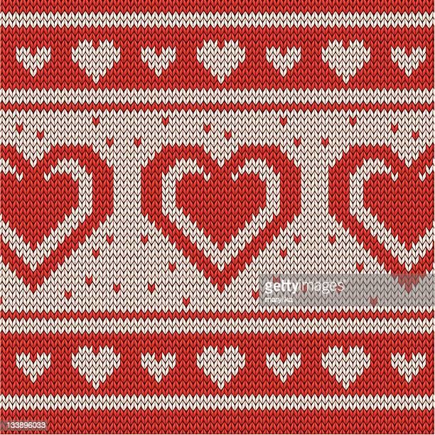 Valentine's Day Red knitted background