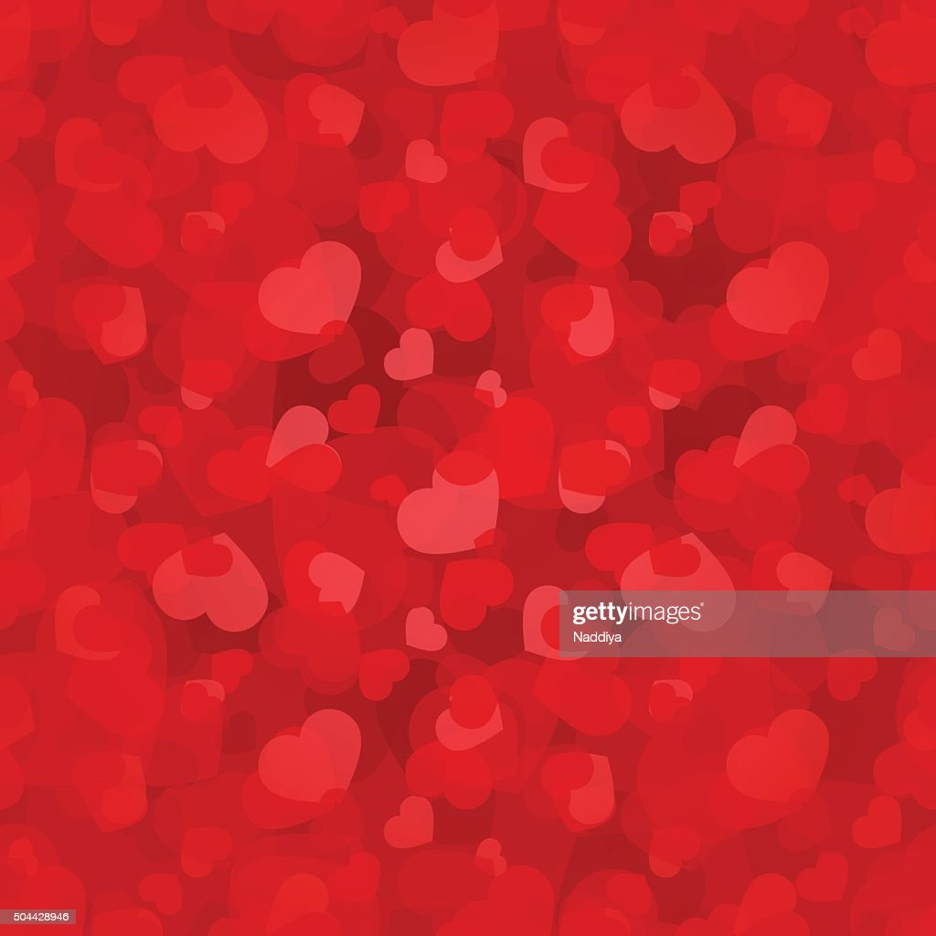 Valentine's day red seamless pattern with hearts. Vector eps-10.