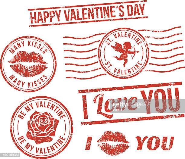 ilustraciones, imágenes clip art, dibujos animados e iconos de stock de día de san valentín de sellos de goma - i love you