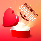 Valentine's Day sale advertisement banner, open heart shaped gift box, vector illustration