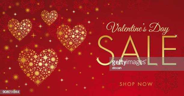 valentine's day sale design with golden hearts. - gift tag note stock illustrations, clip art, cartoons, & icons