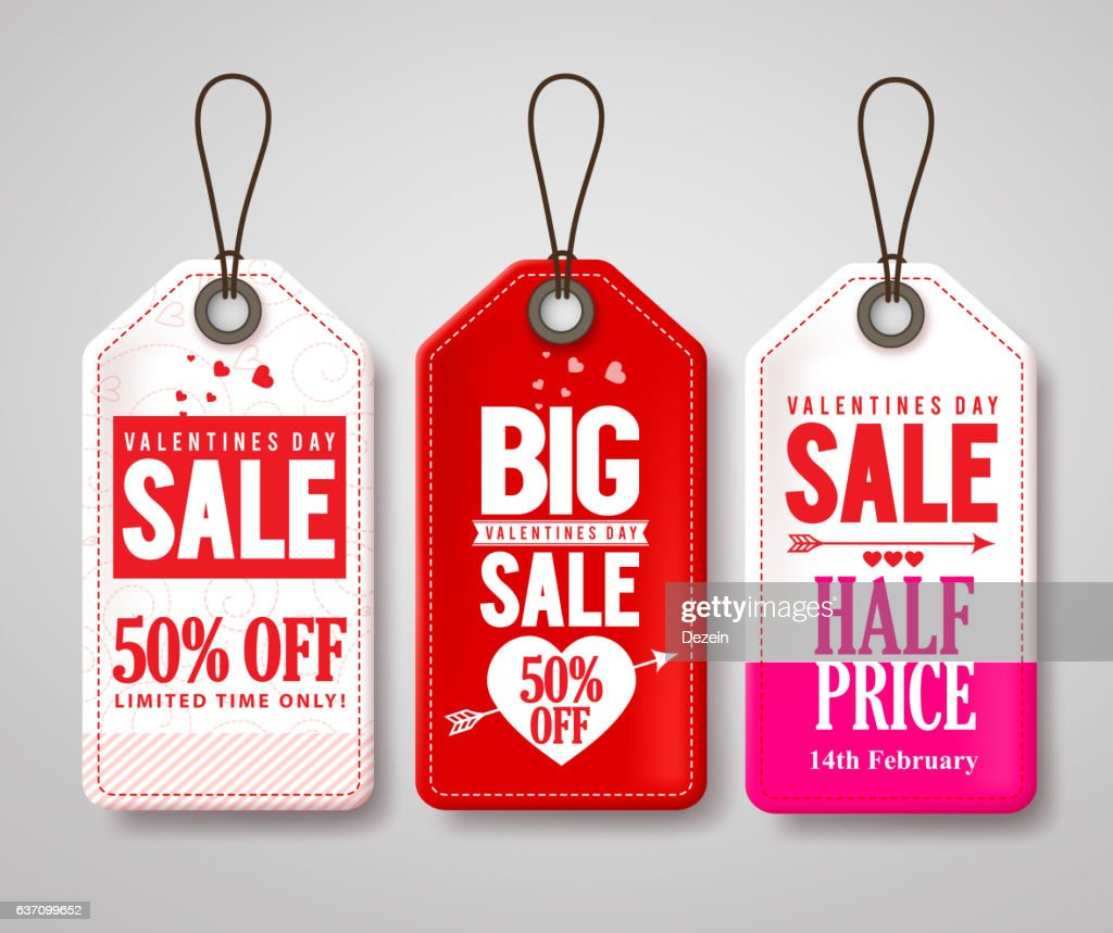 Valentines day sale price tags and labels vector set