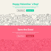 Valentine's Day Save the Date Line Art Web Banners Set