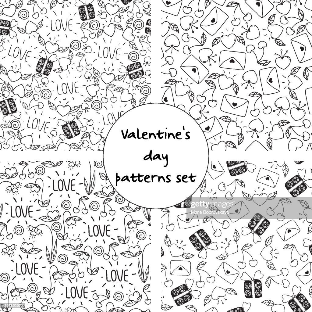 Valentines day seamless pattern set with doodle elements. design for print,wrapping paper.