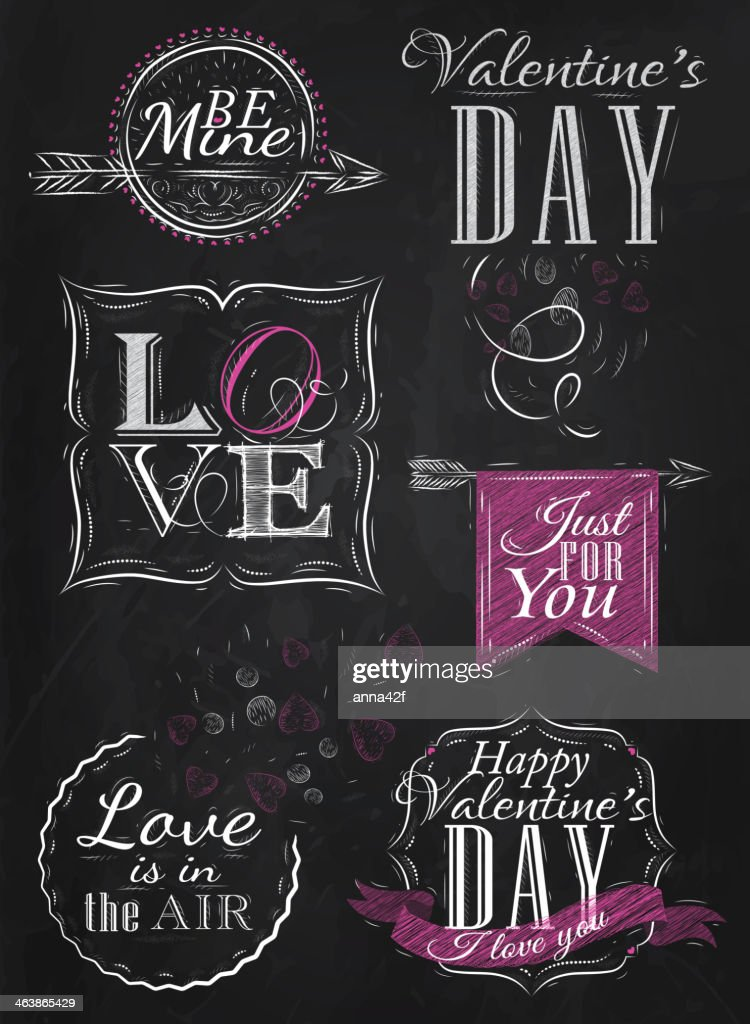 Valentine's Day set drawing with chalk of pink