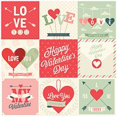 Valentine`s day set - emblems and cards.