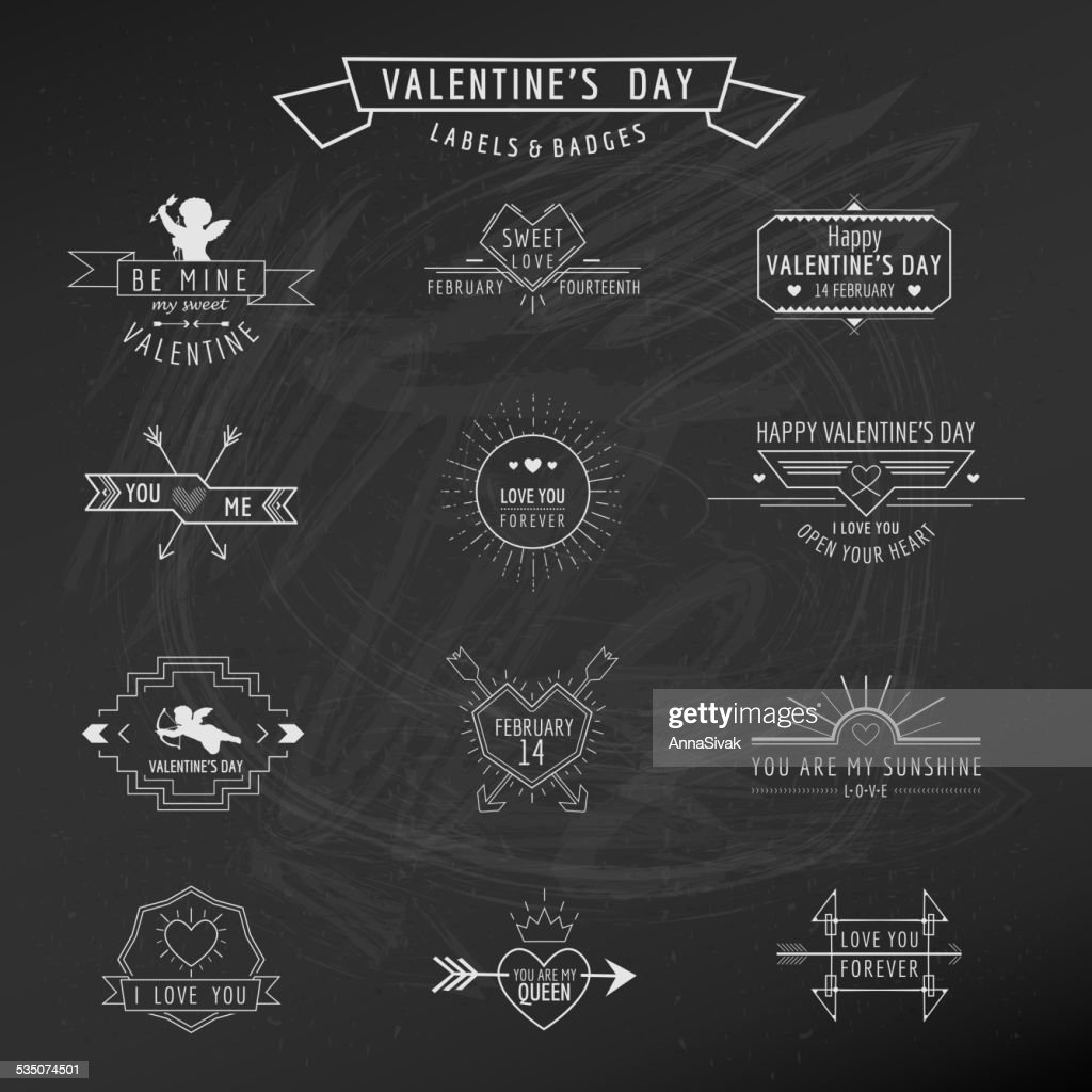 Valentine's Day - Set of Badges and Labels