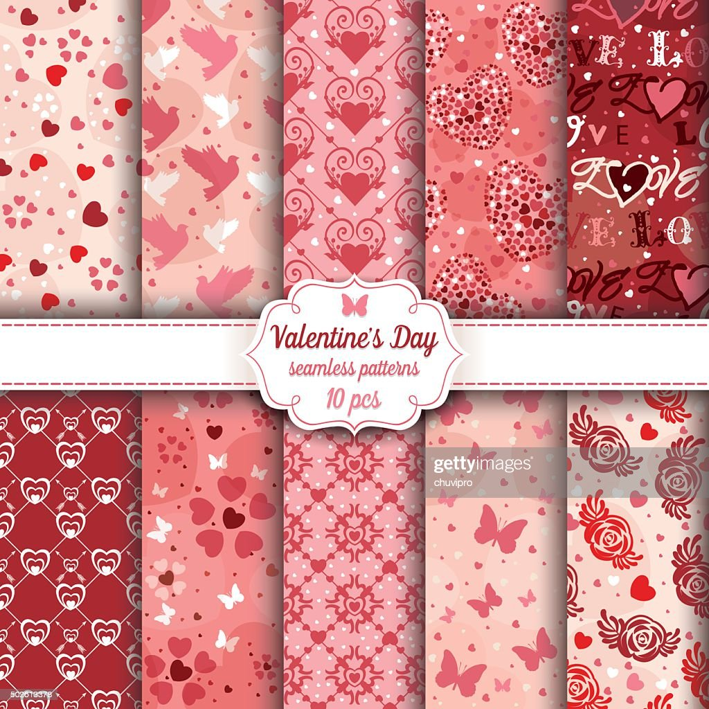 Valentine's Day set of ten seamless romantic patterns : Vector Art