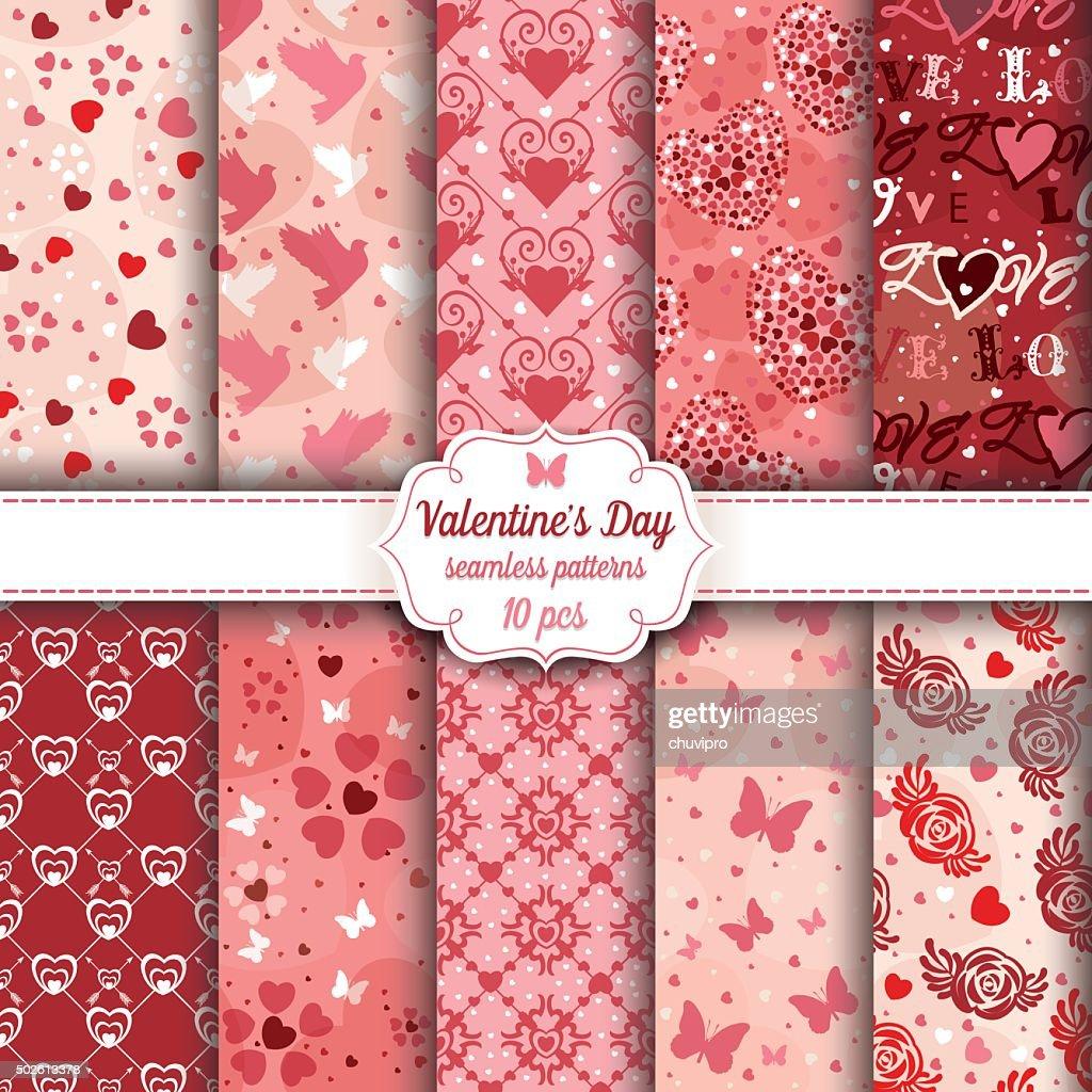 Valentine's Day set of ten seamless romantic patterns : stock illustration