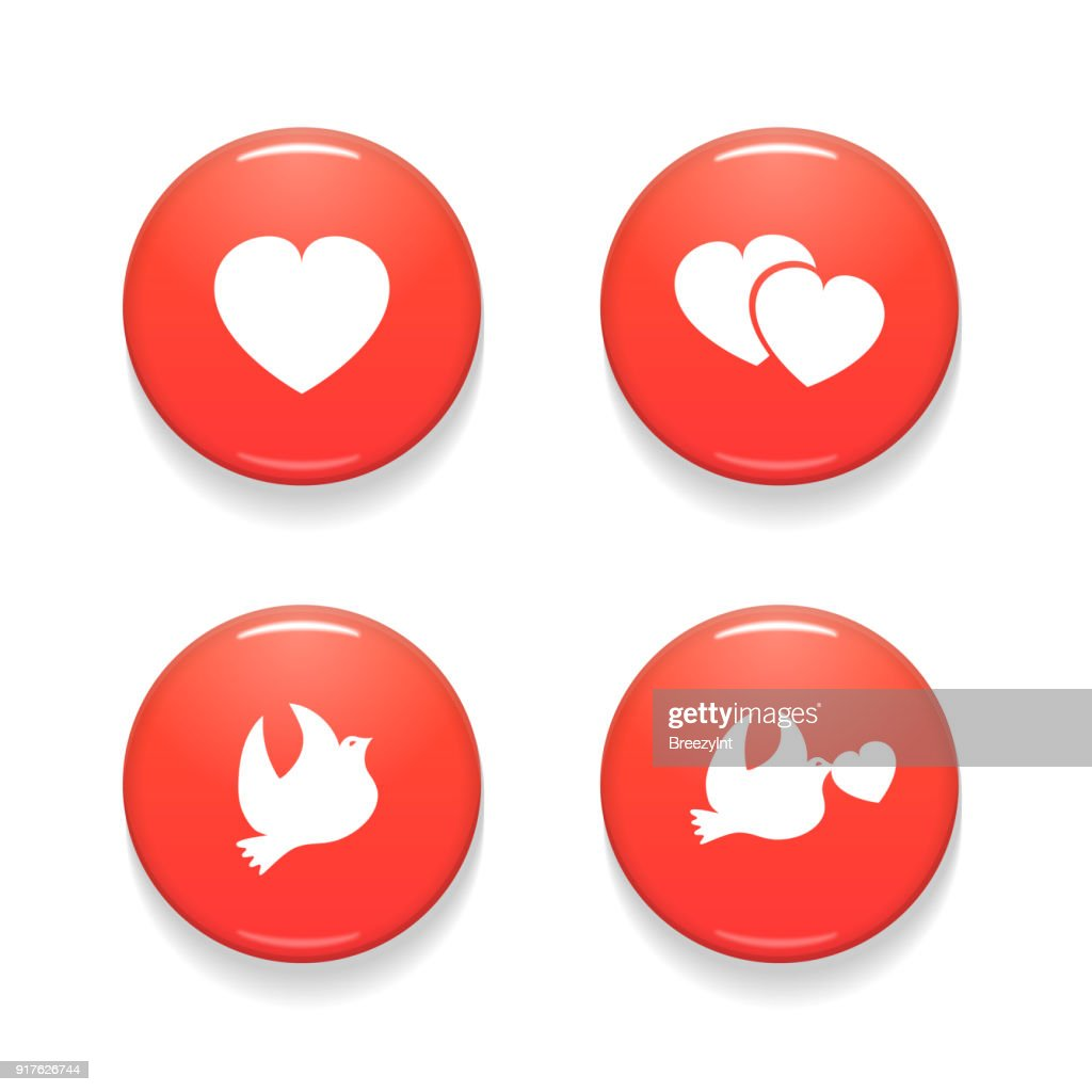 Valentines Day Set of Vector Badges Isolated on White Background