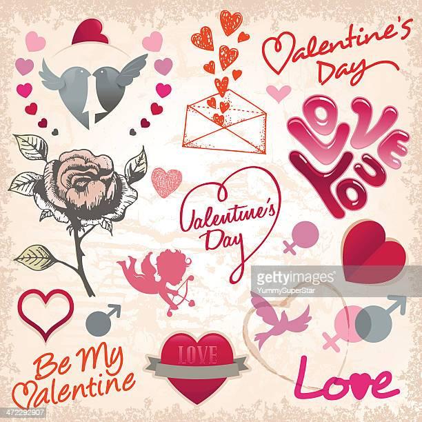 illustrations, cliparts, dessins animés et icônes de saint valentin set - cupidon humour