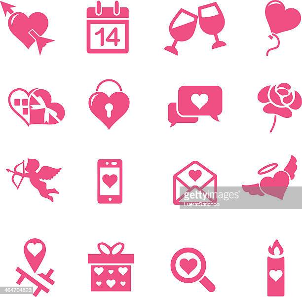 valentine's day silhouette pink icons set - champagne region stock illustrations, clip art, cartoons, & icons