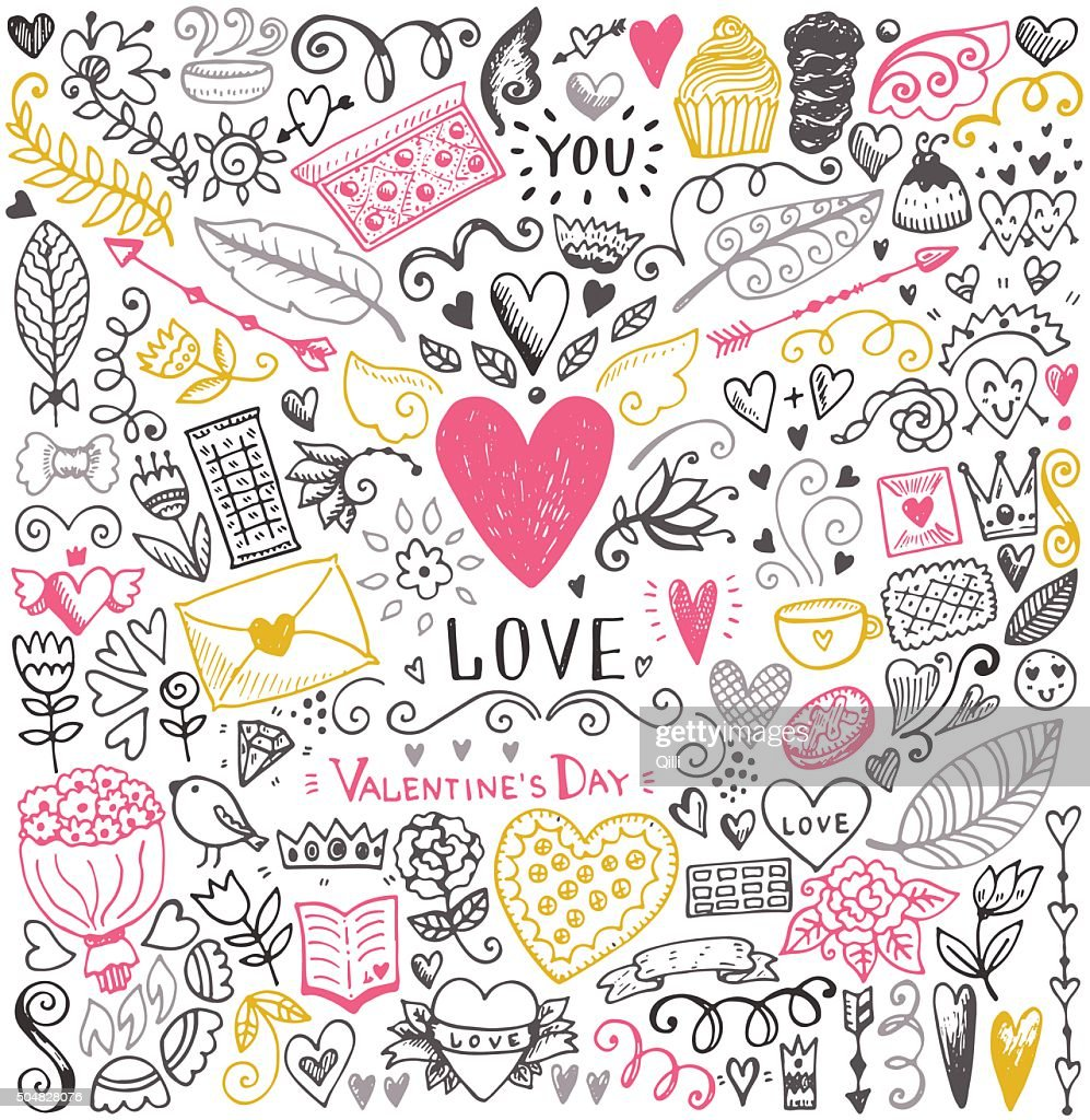 Valentines day sketch pattern