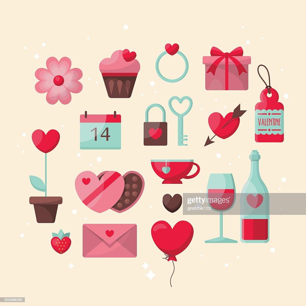 Valentine's day stylish icons design