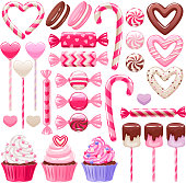 Valentine's day sweets set. Assorted candies