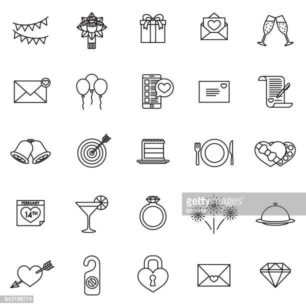 Valentine's Day Thin Line Icon Set