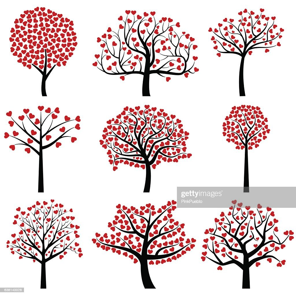 Valentine's Day Tree Silhouettes with Heart Shaped Leaves