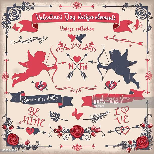Valentinstag vintage-design-Elemente set tricolor